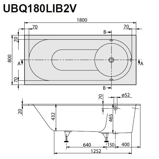 Ванна квариловая Villeroy & Boch Libra 180х80 UBQ180LIB2V-01 (белый Alpin)