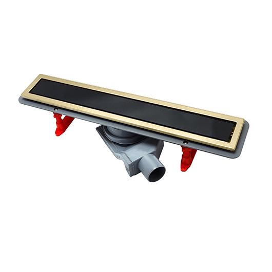 Душевой лоток Pestan Confluo Premium Gold Black Glass Line 550 (550 мм, золото/черное стекло) 13100096 (13100115)