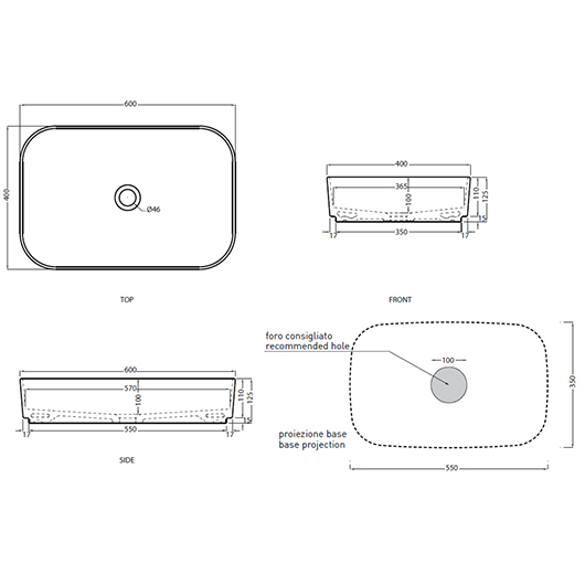 Раковина накладная Cielo Shui Comfort SHCOLAR60 (600х400 мм)