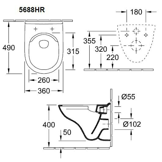 Унитаз подвесной Villeroy & Boch O.Novo 5688 HR 01 (5688HR01) Compact, без смывного обода