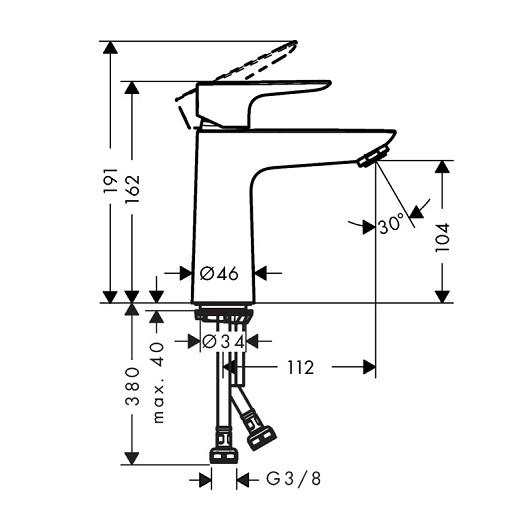 Смеситель для раковины Hansgrohe Talis E 71712340 (шлифованный черный хром)