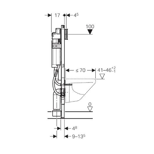Инсталляция для подвесного унитаза Geberit Duofix UP320 111.350.00.5 (ширина 42,5 см)