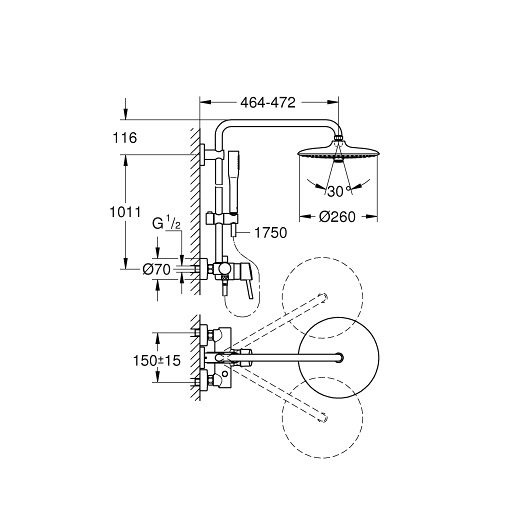 Душевая система Grohe Euphoria 260 23061002 (9,5 л/мин)