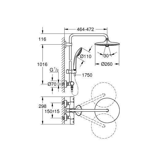Душевая система Grohe Euphoria 260 27615001 (9,5 л/мин)