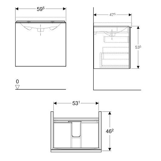 Тумба под раковину Geberit Acanto 500.609.01.2 (белое стекло, 595х475 мм)