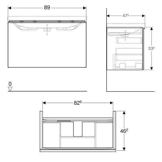 Тумба под раковину Geberit Acanto 500.612.01.2 (белое стекло, 890х475 мм)