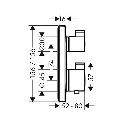 Термостат с запорным/переключающим вентилем Hansgrohe Ecostat Square 15714140 (шлифованная бронза)