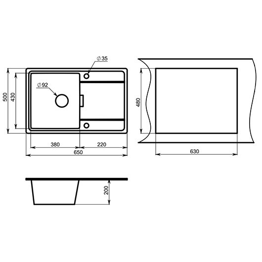 Кухонная мойка Granula GR-6503 Шварц (650х500 мм)