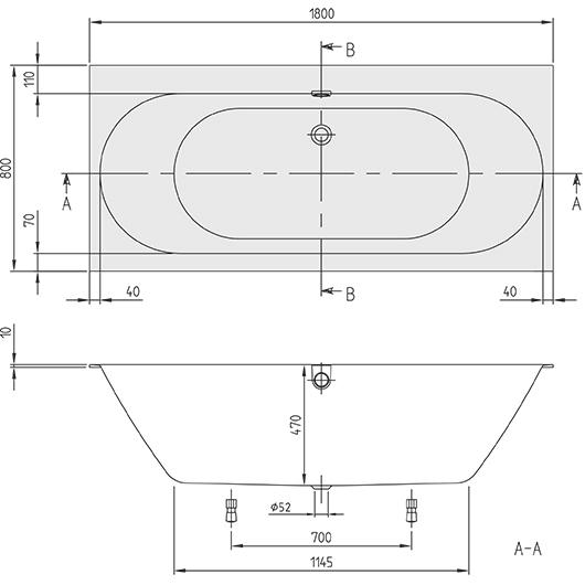 Ванна квариловая Villeroy & Boch Oberon 2.0 UBQ180OBR2DV-01 180х80 (белый Alpin)