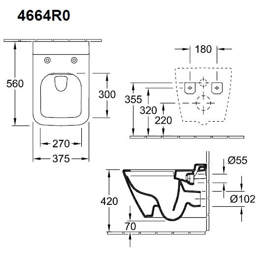 Чаша подвесного унитаза Villeroy & Boch Finion 4664R0R1 (4664 R0 R1) CeramicPlus, с открытым смывным краем