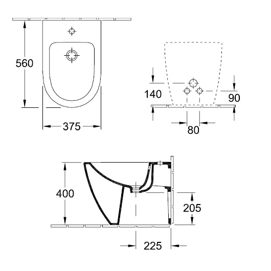 Биде напольное Villeroy & Boch Subway 2.0 5401 00 R1 (540100R1) CeramicPlus