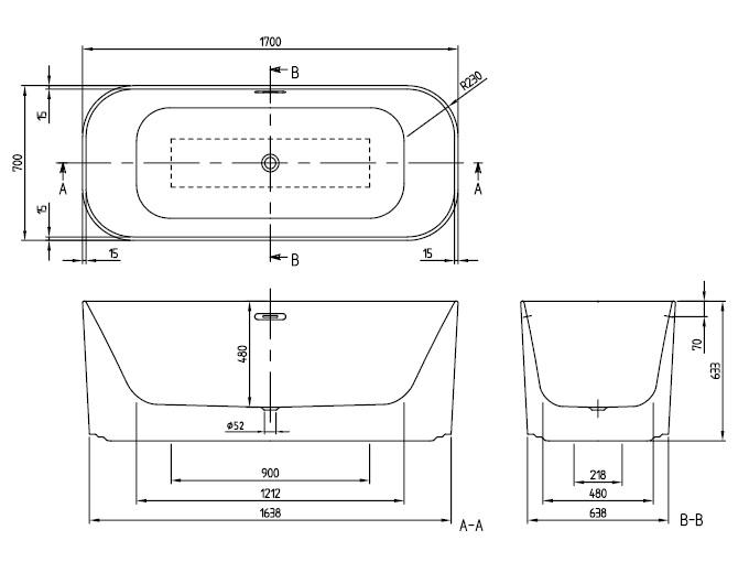 Ванна квариловая Villeroy & Boch Finion 170х70 UBQ177FIN7A100V401 (белый Alpin)