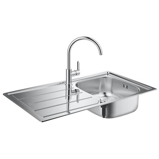Кухонная мойка Grohe K200 31562SD0 (860х500 мм) со смесителем BauEdge