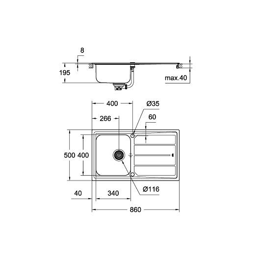 Мойка Grohe K500 31573SD0 (860х500 мм) со смесителем Minta