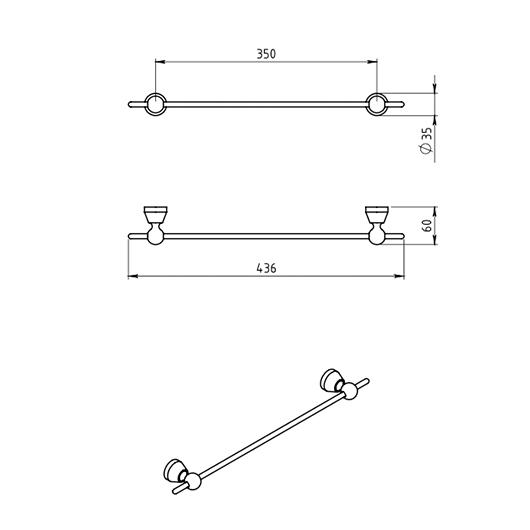 Полотенцедержатель Novaservis Metalia 3 6326.0 (350 мм)