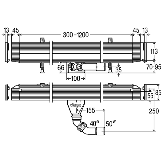 Душевой лоток Viega Advantix Vario 736736 (300-1200 мм) произвольно укорачиваемый, встраиваемый в стену, низкая монтажная высота