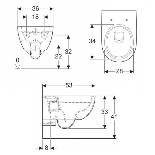 Чаша подвесного унитаза Geberit Renova Rimfree 203070000 (безободковая)