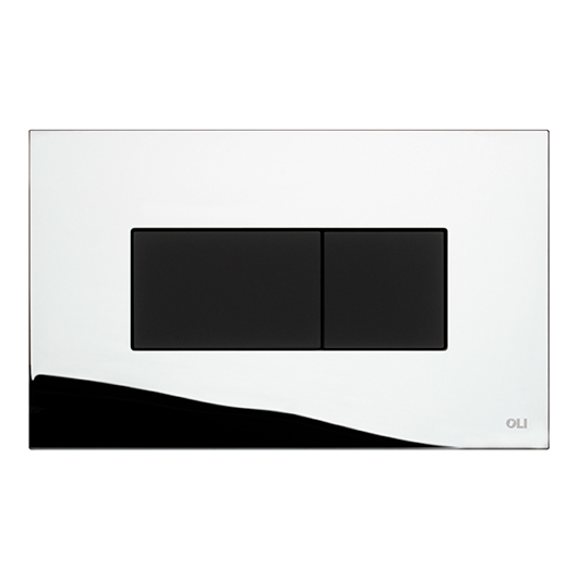 Смывная клавиша OLI KARISMA хром глянцевый/черный Soft-touch 641019 (пневматическая)