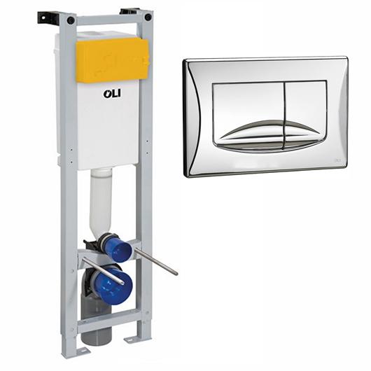 Инсталляция для подвесного унитаза OLI QUADRA Plus Sanitarblock с клавишей RIVER DUAL 280490mRI00