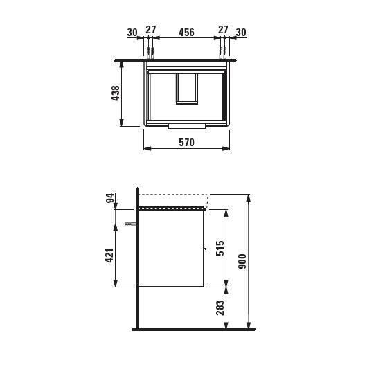 Тумба под раковину Laufen Base 0223.2 (4.0223.2.110.260.1, 570х440 мм, белый матовый)
