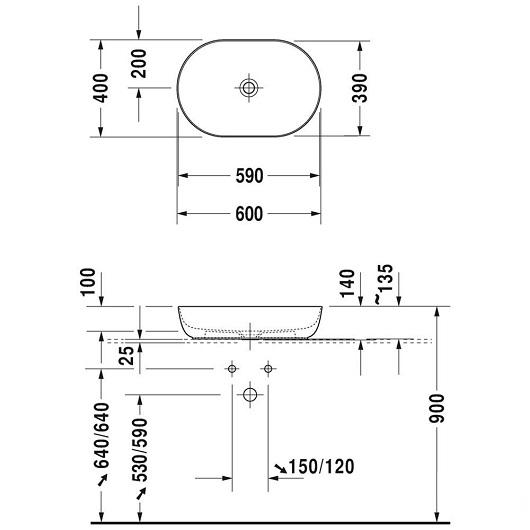 Раковина накладная Duravit Luv 0379600000 (600х400 мм)