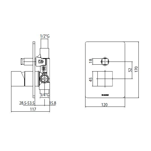 Смеситель для ванны Bossini Cube Z00063 CR (хром глянцевый)