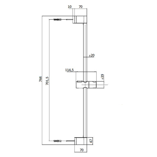 Душевой набор Bossini Syncronia/2 DE8008 CR (штанга 700 мм)