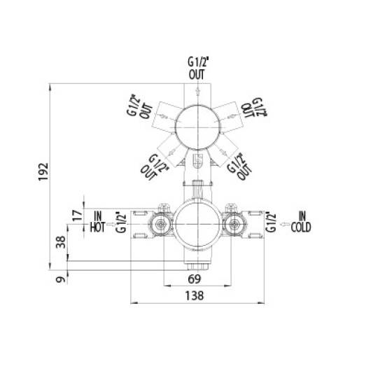 Скрытая часть термостата на 1/2/3/4/5 выходов Bossini Z00125