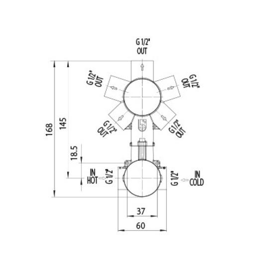 Скрытая часть смесителя на 2/3/4/5 выходов Bossini Z00130