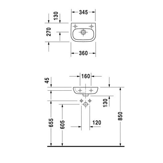 Раковина Duravit D-Code 07053600002 (360х270 мм) без отверстия под смеситель