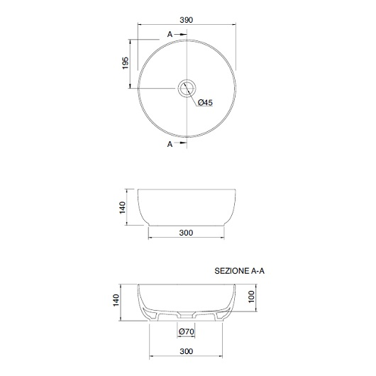 Раковина накладная Scarabeo Glam 39 1807 (Ø 390 мм)