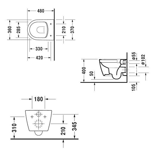 Комплект Duravit ME by Starck Rimless 45300900A1 безободковый, компакт (унитаз подвесной 2530090000 с сиденьем SoftClose 0020190000)