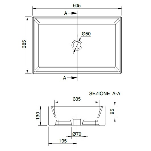 Раковина накладная Scarabeo Teorema 60 8031-60 (605х385 мм)