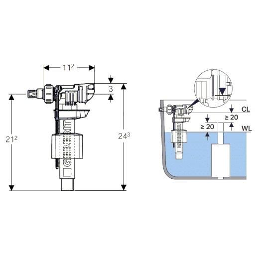 Впускной клапан Geberit Impuls 380 281.004.00.1 подвод воды сбоку (3/8″ и 1/2″)