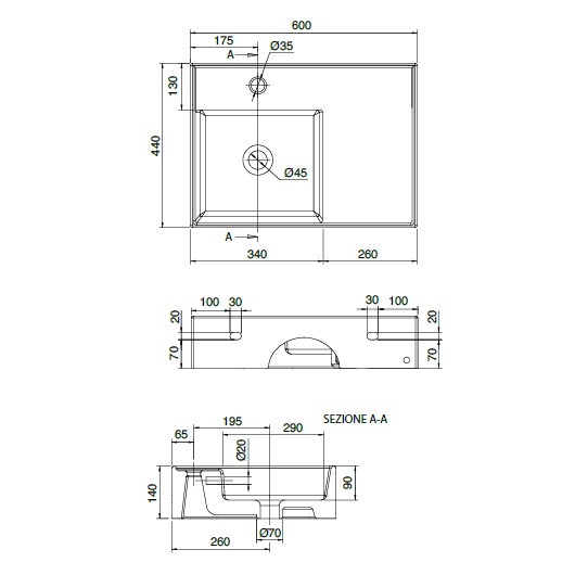 Раковина Scarabeo Teorema 2.0 60R Shelf DX 5114BK (600х440 мм) с покрытием BioKer