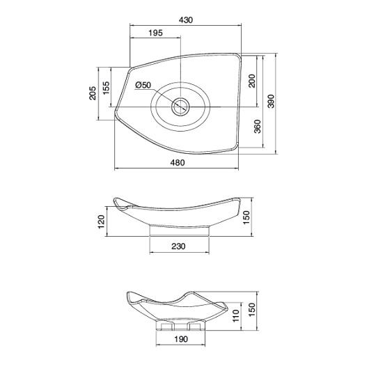 Раковина накладная Scarabeo Kong 50 8051 (480х390 мм)