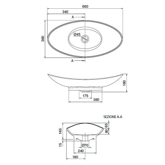 Раковина накладная Scarabeo Zefiro 70 8206 (680х360 мм)