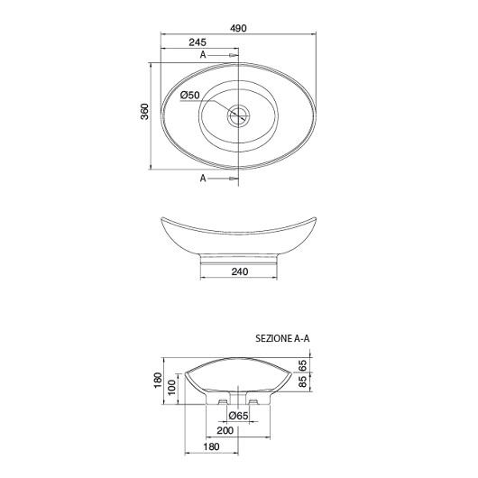 Раковина накладная Scarabeo Zefiro 50 8207 (490х360 мм)