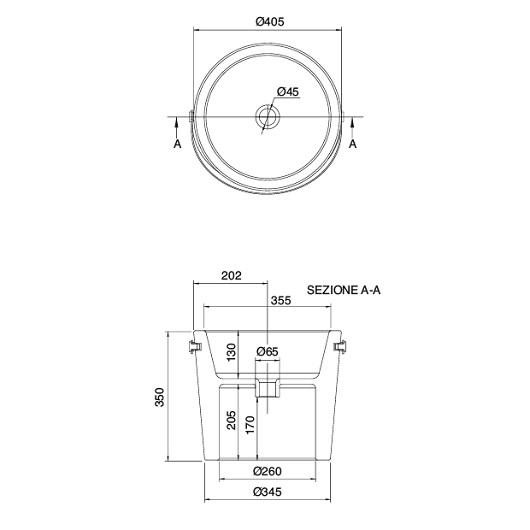 Раковина накладная Scarabeo Bucket 40 8803/W Lace (⌀ 405 мм)