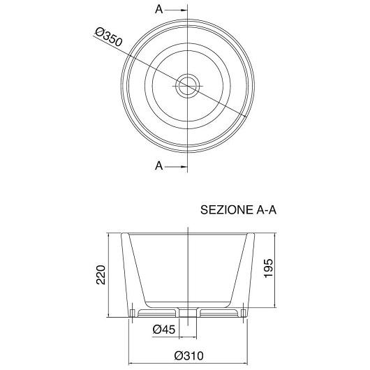 Раковина накладная Scarabeo Bucket 8808 (⌀ 350 мм)