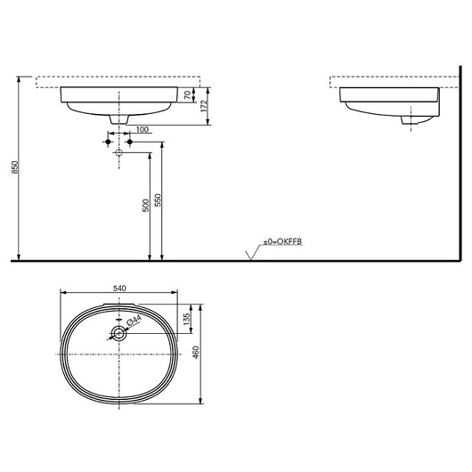 Раковина встраиваемая снизу TOTO Public LW764Y#XW (540×460 мм)