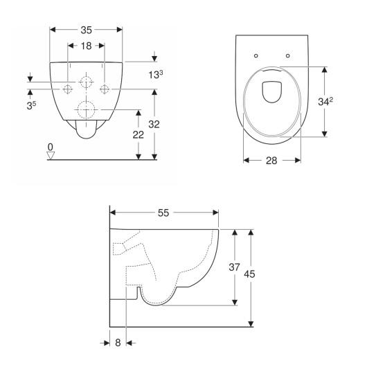 Чаша подвесного унитаза Geberit Renova Comfort Rimfree 500.694.01.1 (безободковая)
