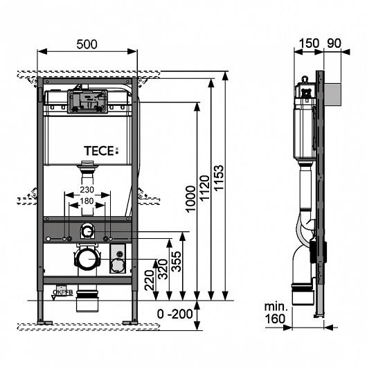 Инсталляция для подвесного унитаза TECE TECEprofil 9300044 (9300344) (для TOTO Neorest)