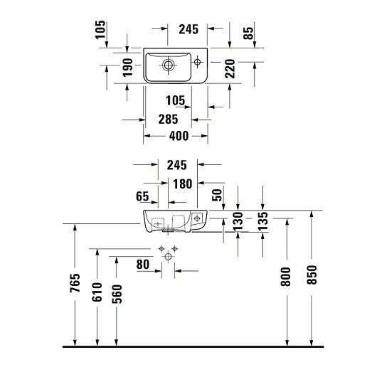Раковина Duravit ME by Starck 0717400000 (400х220 мм)