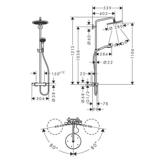 Душевая система Hansgrohe Croma Select S 26790000