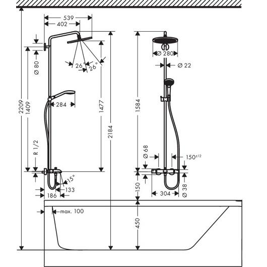 Душевая система Hansgrohe Croma Select S 26792000