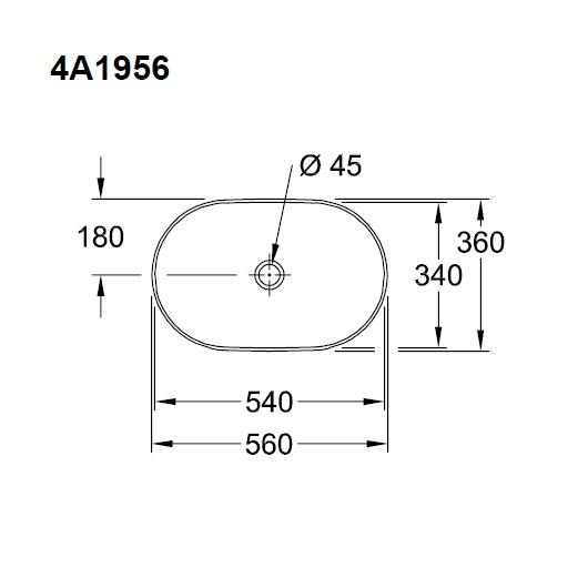 Раковина накладная Villeroy & Boch Collaro 4A195601 (4A19 56 01) (560х360 мм)