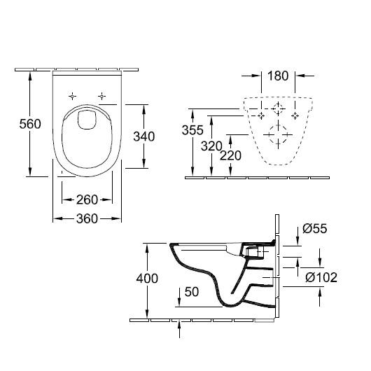 Унитаз подвесной Villeroy & Boch Targa 5860HR01 (5860 HR 01) без смывного обода