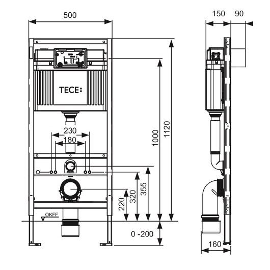 Инсталляция для подвесного унитаза TECE TECEprofil 9300000 (9300302)