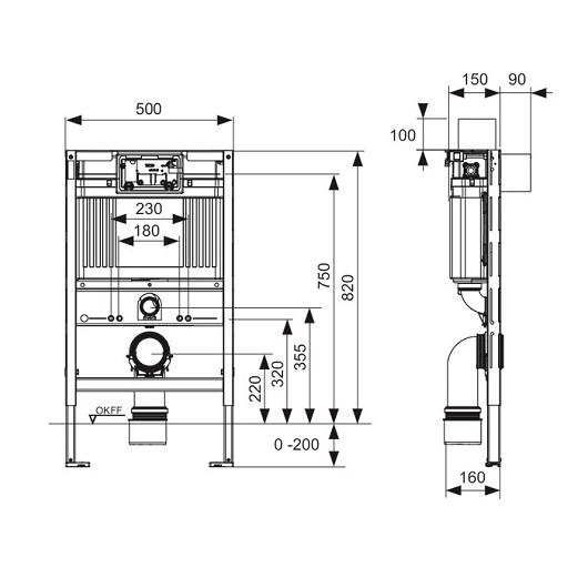 Инсталляция для подвесного унитаза TECE TECEprofil 9300001 (9300380) низкая (h=820 мм)